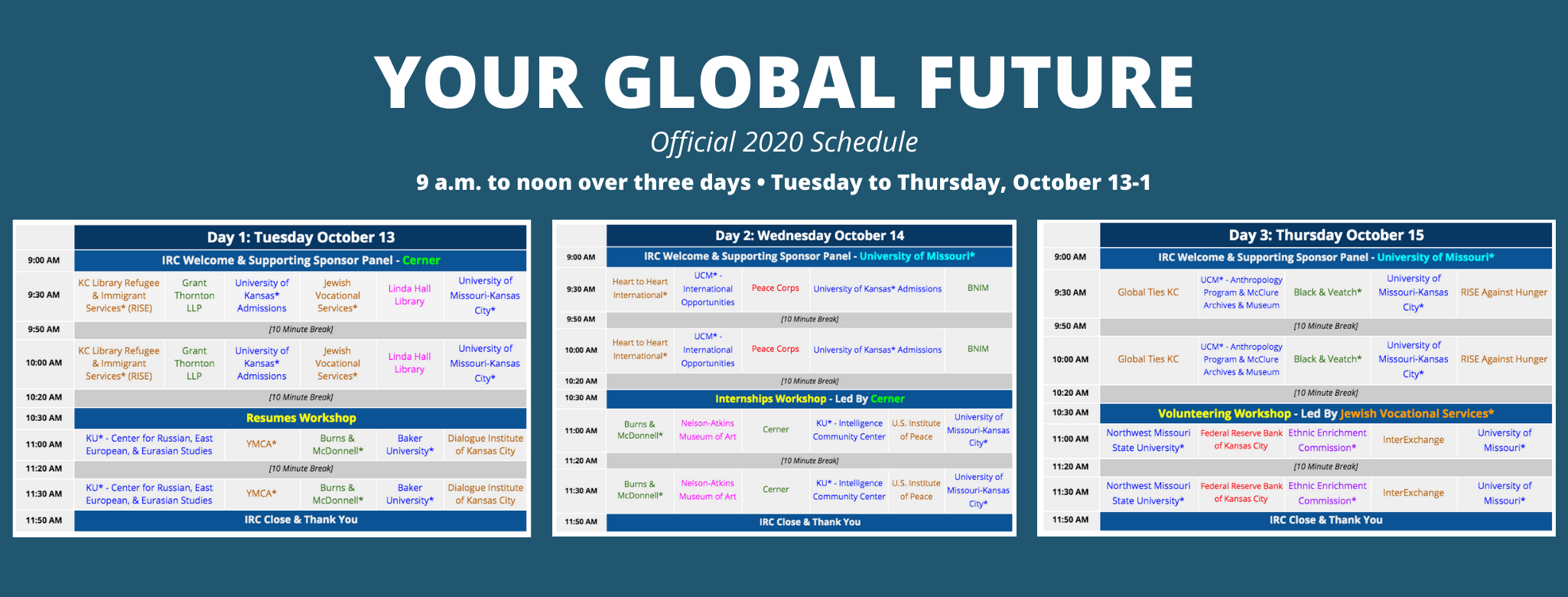 Your Global Future official schedule